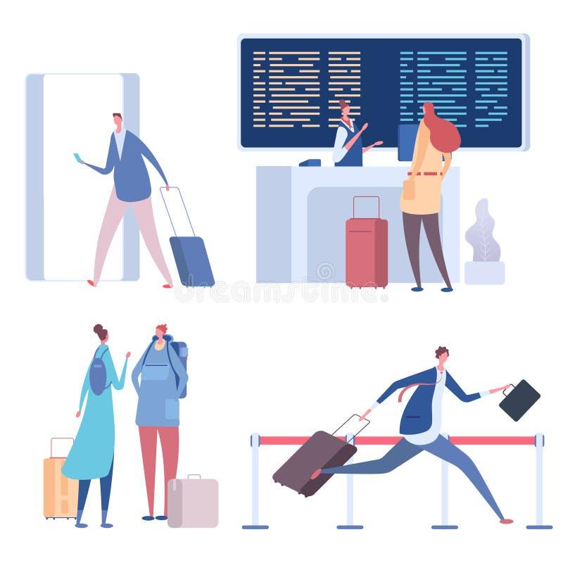 Люди мультфильма в иллюстрации вектора аэропорта плоско иллюстрация вектора