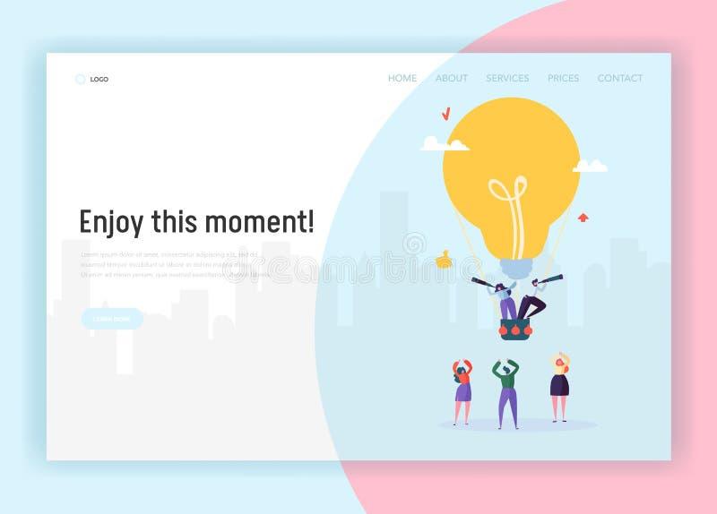 Люди на лампочке летая Airballoon ища страница посадки концепции идеи дела Решение мужчины и женского характера творческое иллюстрация вектора