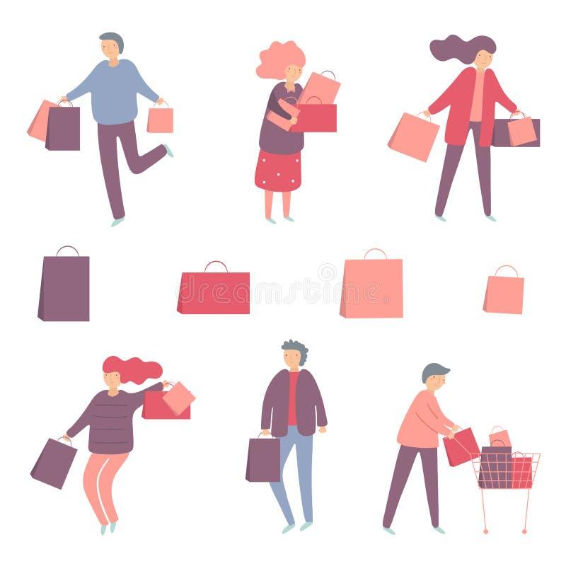 Люди покупок установили включая человека и женщину с сумками, тележку иллюстрация вектора