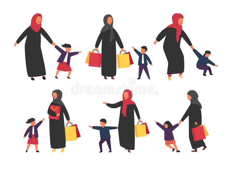 Люди с детьми Занятые родители с капризными детьми также вектор иллюстрации притяжки corel иллюстрация штока