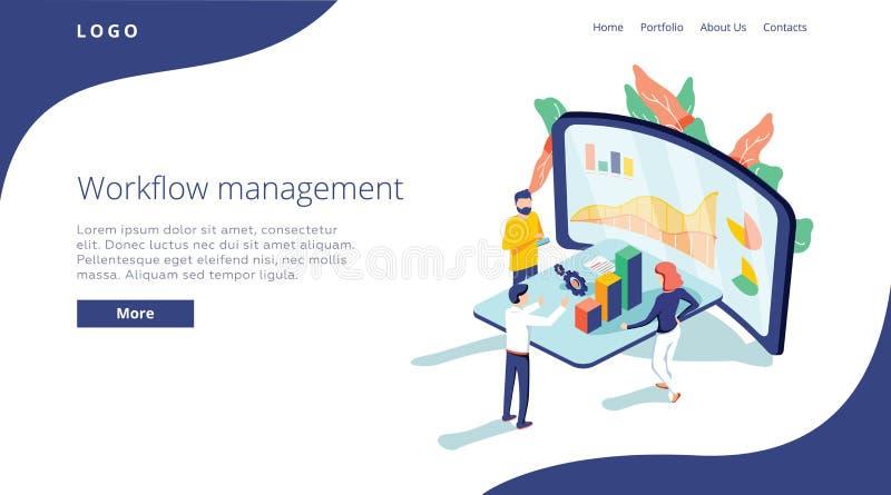 Люди работают в команде и взаимодействуют с диаграммами Дело, управление потока операций и ситуации офиса Страница посадки иллюстрация штока