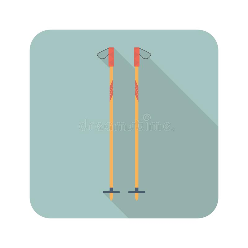 Лыжа вставляет плоский значок с длинной тенью Иллюстрация вектора символа спорта бесплатная иллюстрация