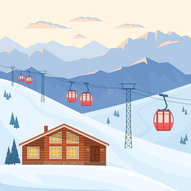 Лыжный курорт с красным подъемом кабины лыжи на кабел-кран, дом, шале, вечер горы зимы и ландшафт утра, снежные пики иллюстрация вектора