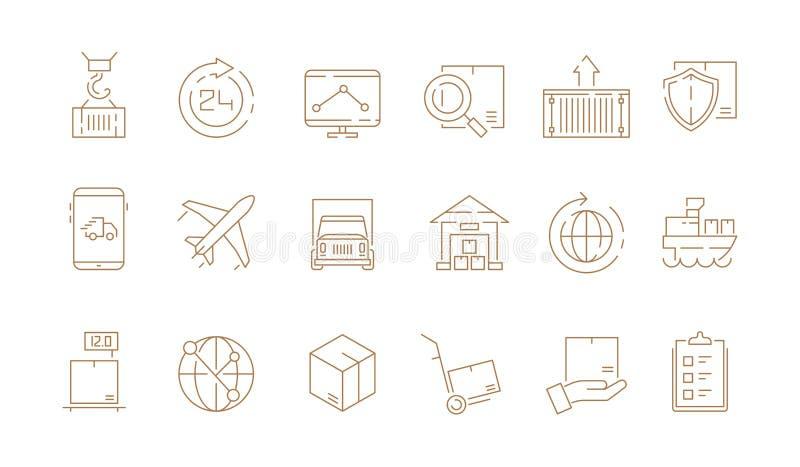 Логистические тонкие символы Поставлять коробки и собрание значков плана вектора перевозки моря пересылки фургона перехода свобод бесплатная иллюстрация