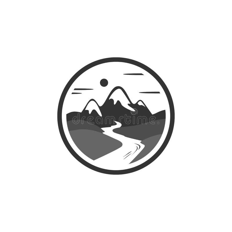 Логотип вектора реки горы иллюстрация штока