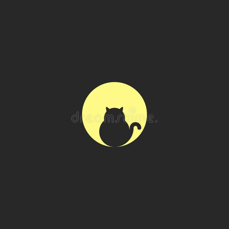 Логотип жирный черный кот сидит на предпосылке большого полнолуния, дизайне круглого логотипа, круга геометрическая форма иллюстрация штока