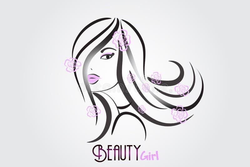 Логотип значка женщины красоты милый иллюстрация вектора