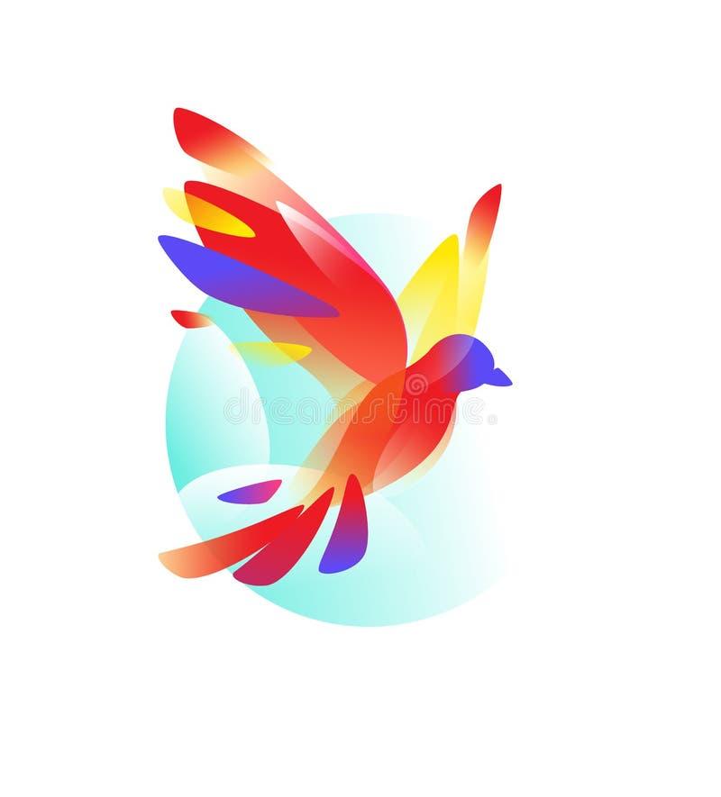 Логотип летящей птицы также вектор иллюстрации притяжки corel Логотип изолированный на белой предпосылке Красный голубь градиента иллюстрация вектора