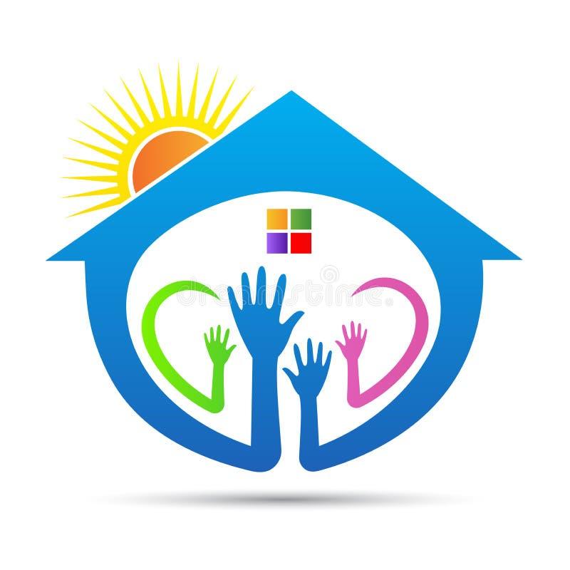 Логотип людей помощи на дому призрения стоковая фотография rf