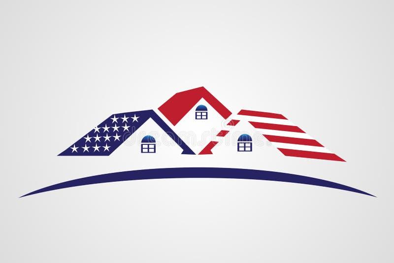 Логотип недвижимости дома флага США патриотический иллюстрация штока
