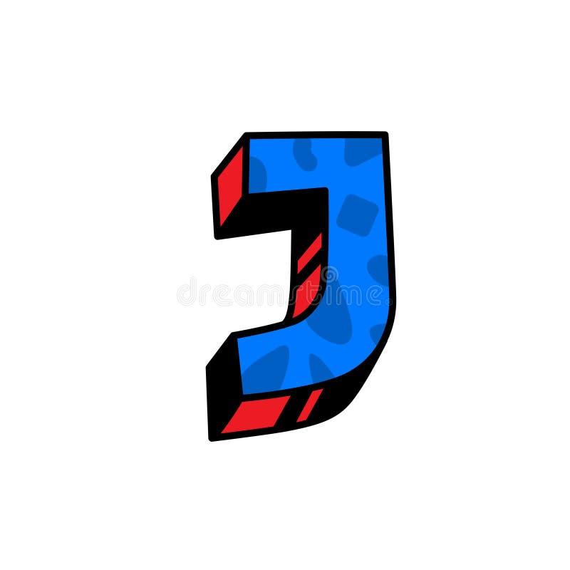 Логотип, письмо j вектор Линейный, значок плана Объемная метка, 3D Прописная буква цвета Иллюстрация с картиной Символ дальше иллюстрация штока