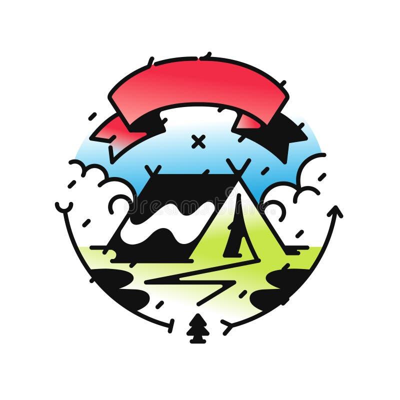 Логотип для лагеря или перемещения также вектор иллюстрации притяжки corel Стиль битника Изображение изолировано на белой предпос бесплатная иллюстрация