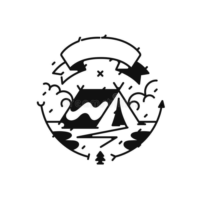 Логотип для лагеря или перемещения также вектор иллюстрации притяжки corel Стиль битника Изображение изолировано на белой предпос иллюстрация штока