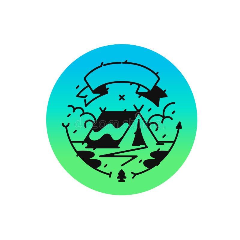 Логотип для лагеря или перемещения также вектор иллюстрации притяжки corel Стиль битника Изображение изолировано на белой предпос иллюстрация вектора