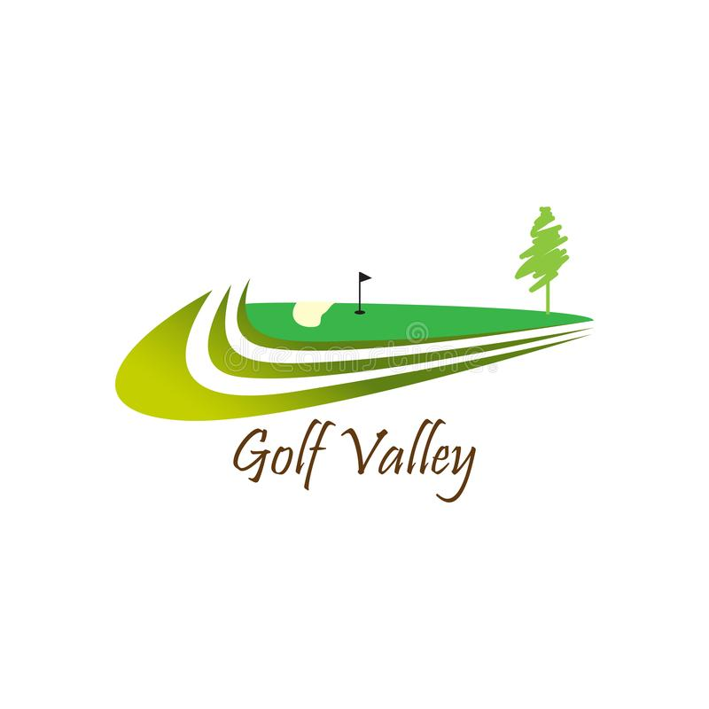 Логотип долины гольфа для практики гольфа иллюстрация вектора