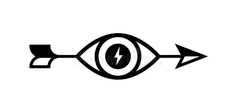 Логотип стрелки с глазом зацепляет икону Изображение изолировано на белой предпосылке Плоский стиль Бренд компании точно _ бесплатная иллюстрация
