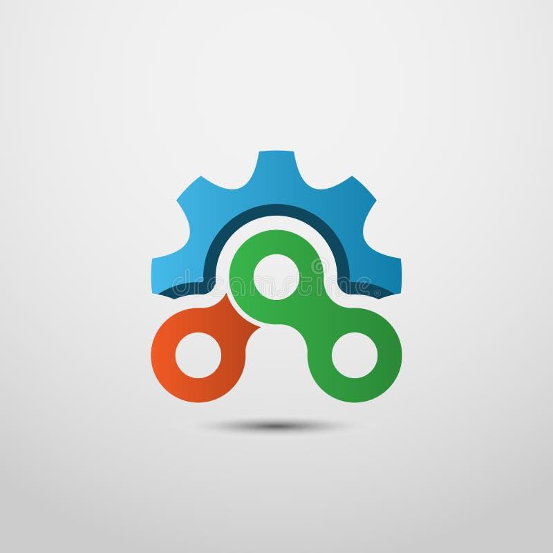 Логотип шестерни и цепей бесплатная иллюстрация