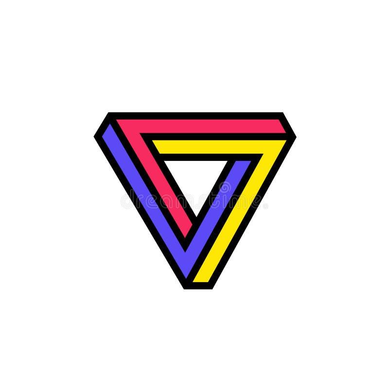 Логотип треугольника Penrose сеть вектора логоса глобуса Изображение изолировано на белой предпосылке Математически диаграмма Ком иллюстрация вектора