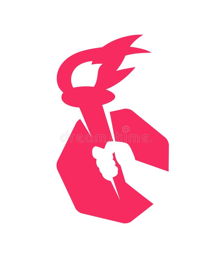 Логотип, факел в руке вектор Изображение изолировано на белой предпосылке Символ повстанчества, революции и братства схватка иллюстрация штока