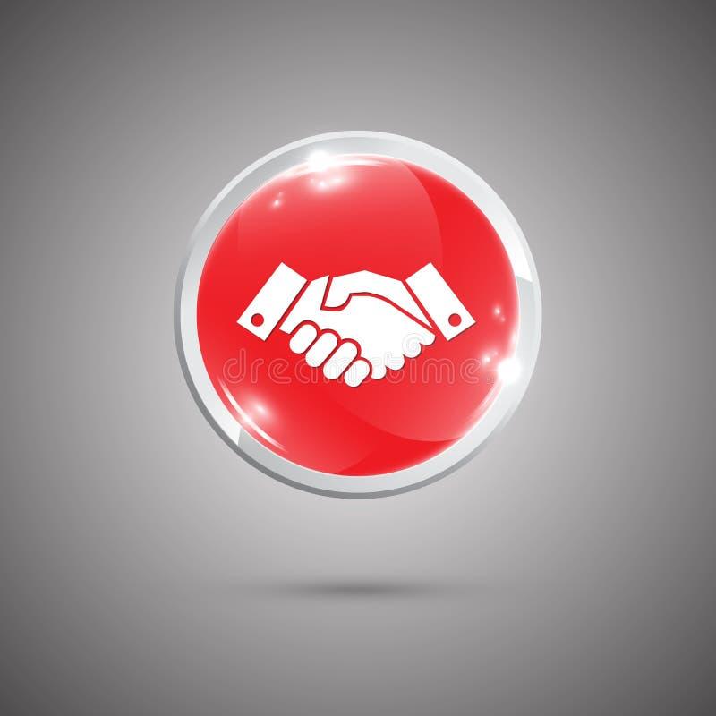 Лоснистая округленная кнопка со знаком рукопожатия иллюстрация вектора