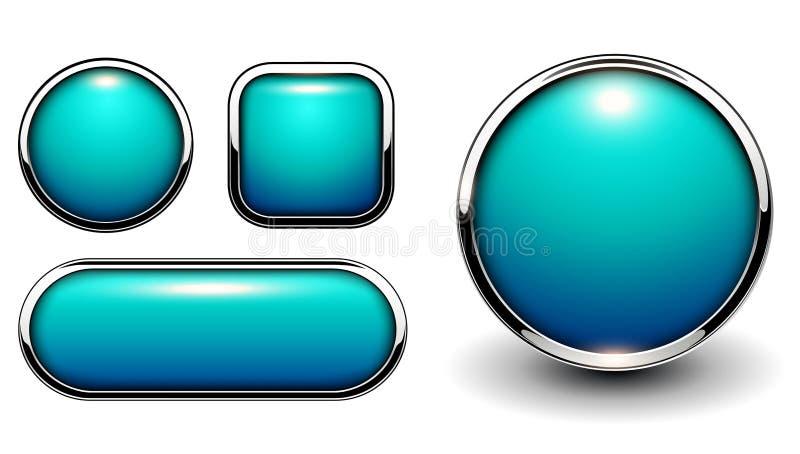Лоснистые кнопки голубые бесплатная иллюстрация