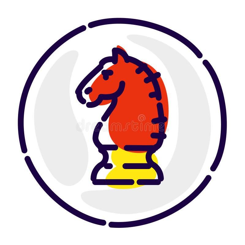 Лошадь шахмат, исключительный логотип, эмблема Значок вектора плоский Изображение изолировано на белой предпосылке Голова красной иллюстрация штока