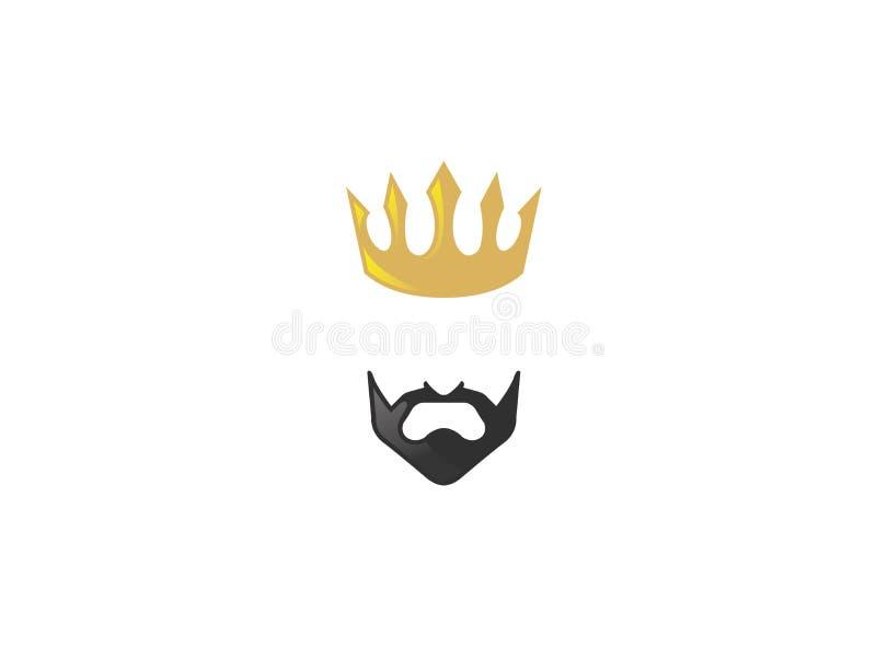 Лорд и король золотая крона с черной бородой иллюстрация вектора