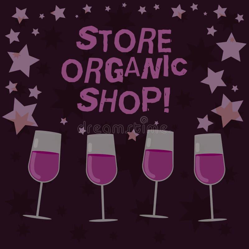 Магазин магазина текста почерка органический Концепция знача тип гастронома который главным образом продает здоровые еды заполнил иллюстрация штока