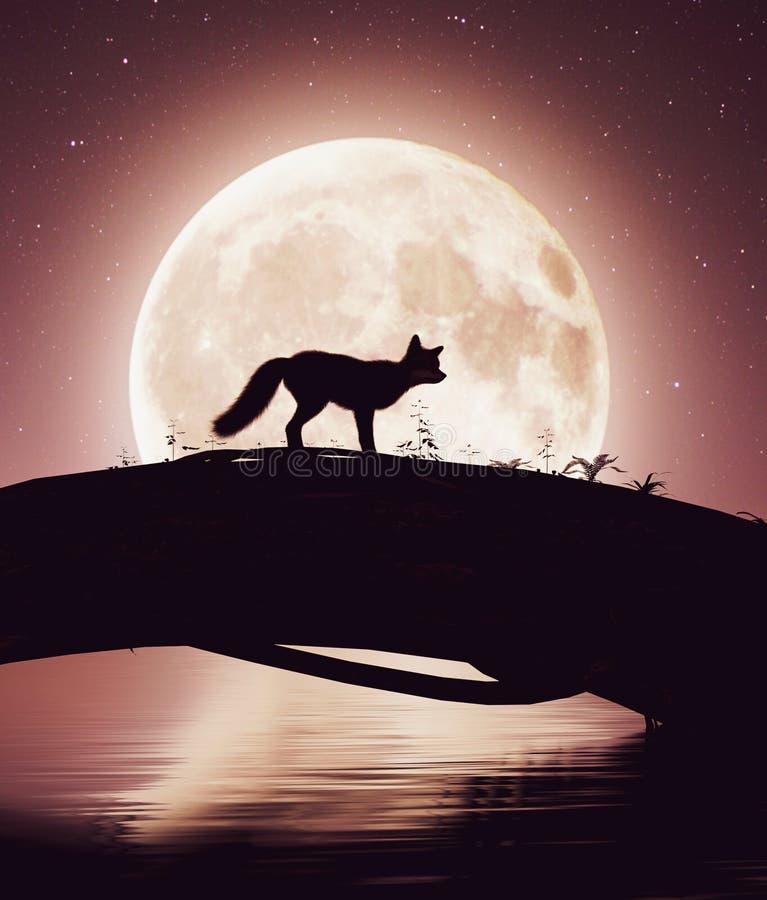 Маленькое скрещивание лисы река на стволе дерева под лунным светом бесплатная иллюстрация