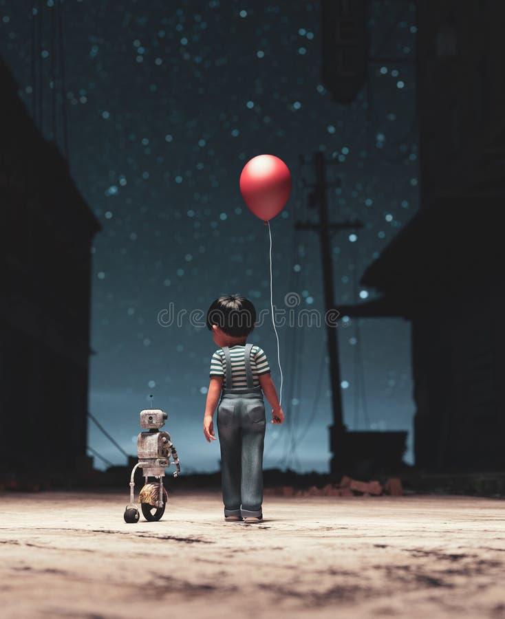 Мальчик идя с роботом бесплатная иллюстрация