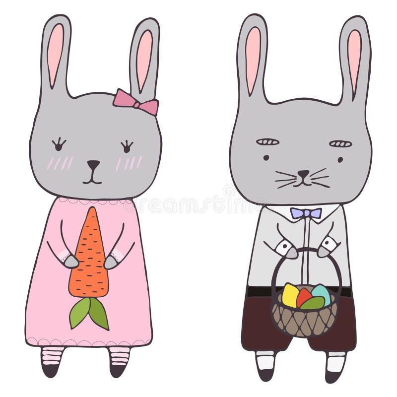Мальчик и девушка зайчика Handdrawn clipart пасхи установленные иллюстрация штока