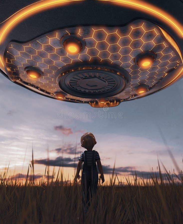 Мальчик смотря поддонник UFO иллюстрация вектора