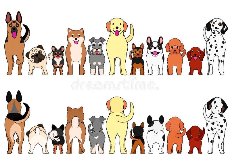 Малый и большой комплект границы собак бесплатная иллюстрация