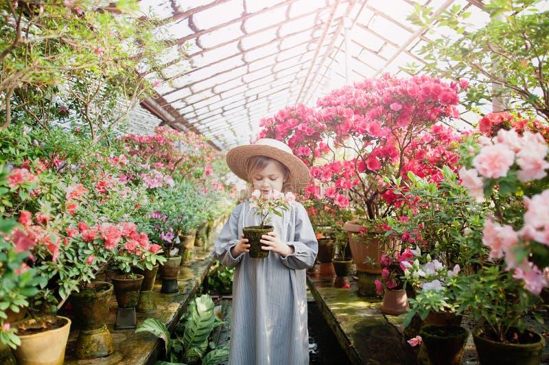 Малыш с корзиной цветка Девушка держа розовые цветки стоковая фотография