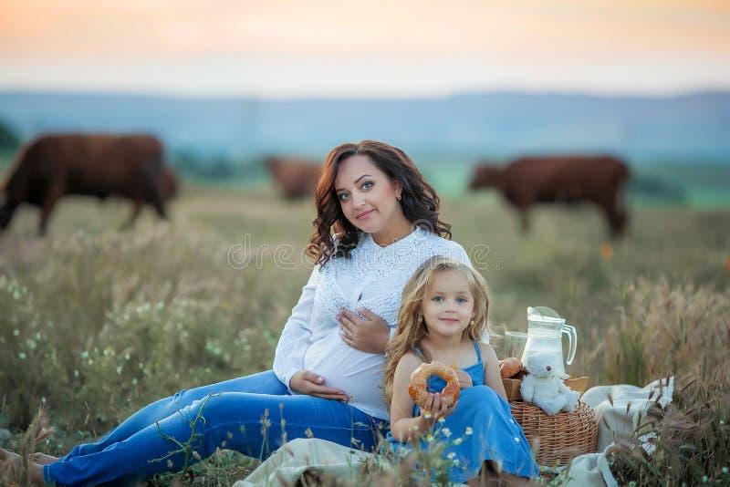 мама дочи счастливая Пикник в зеленом парке стоковые изображения