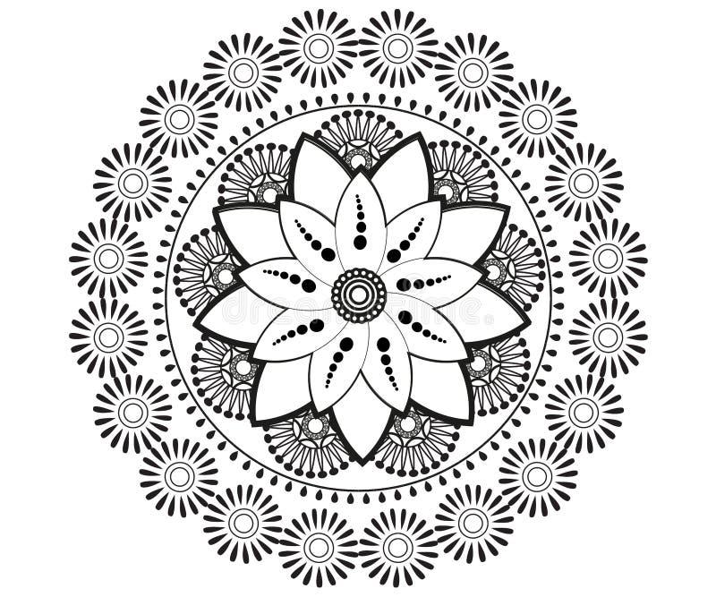 Мандала для хны, Mehndi, татуировки, украшения иллюстрация вектора