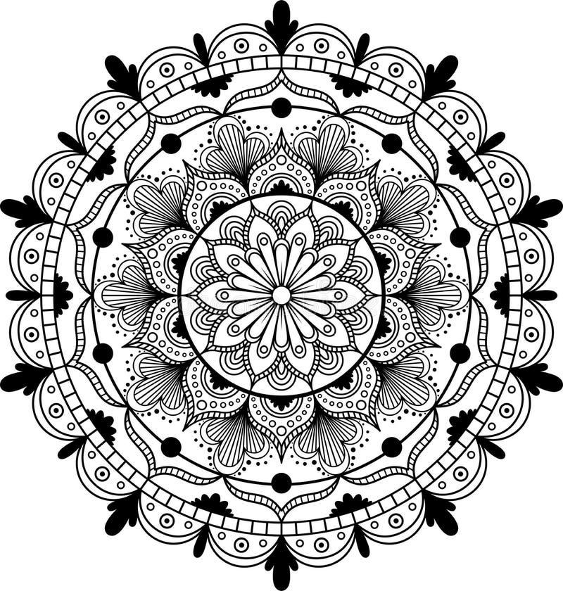 Мандала цветка декоративный сбор винограда элементов Восточная картина, иллюстрация вектора иллюстрация вектора
