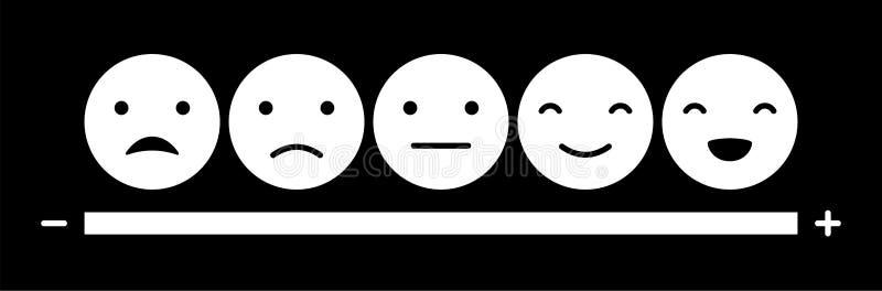 Масштаб настроения смайликов на белой предпосылке бесплатная иллюстрация