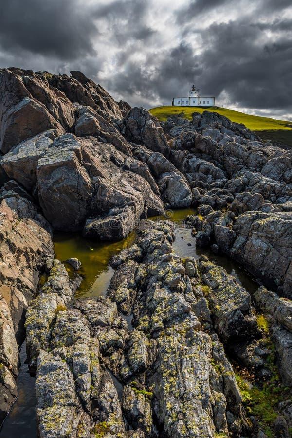 Маяк пункта Strathy поверх диких скал на Атлантика побережье около Thurso в Шотландии стоковое изображение