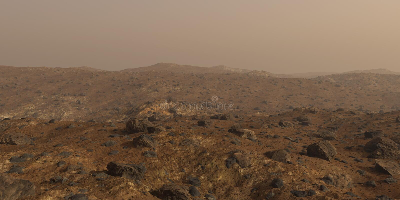 Марс, красный ландшафт поверхности планеты стоковое изображение rf