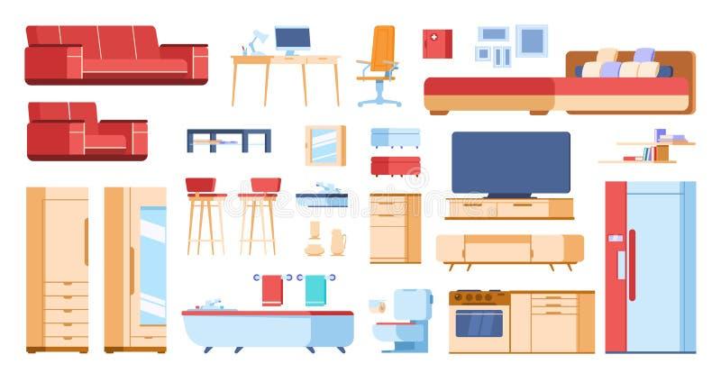 Мебель мультфильма внутренняя Таблица шкафа кресла домашнего шкафа спальни живущей комнаты плоская изолированная Дом вектора муль иллюстрация вектора