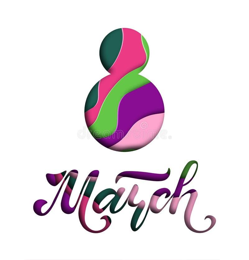 Международный день ` s женщин Знамя, летчик на 8-ое марта Литерность нарисованная рукой Дизайн отрезка бумаги Поздравлять и желат бесплатная иллюстрация