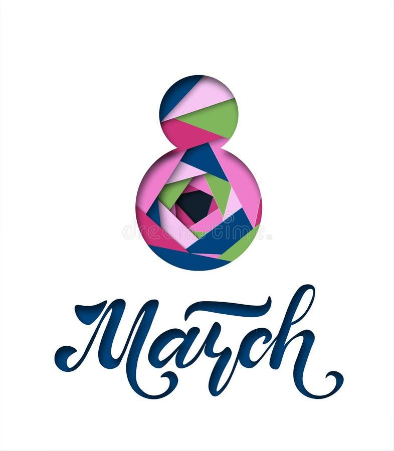 Международный день ` s женщин Знамя, летчик на 8-ое марта Литерность нарисованная рукой Дизайн отрезка бумаги Поздравлять и желат иллюстрация штока