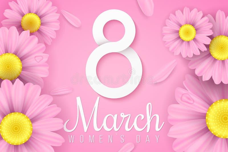 Международный день ` s женщин Розовые реалистические цветки маргаритки Поздравительная открытка приглашения Бумажный 8 с текстом  иллюстрация штока