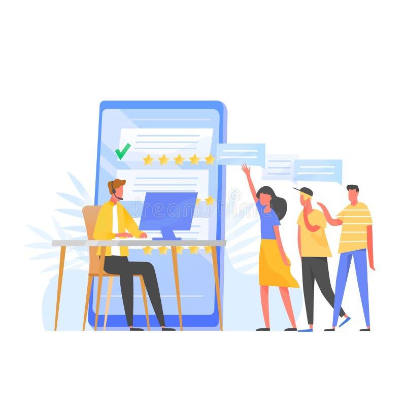 Менеджер работы с клиентом, онлайн консультант, наушники специалисту по центра телефонного обслуживания нося сидя на компьютере,  иллюстрация штока