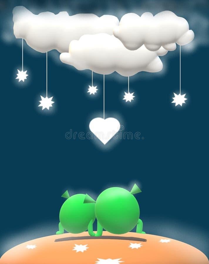 Меньшие Марсиане в любов бесплатная иллюстрация