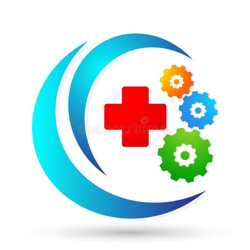 Медицинский элемент вектора значка логотипа шестерни креста здравоохранения на белой предпосылке бесплатная иллюстрация