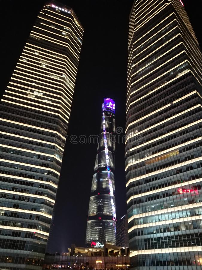 место shanghai ночи стоковое фото rf