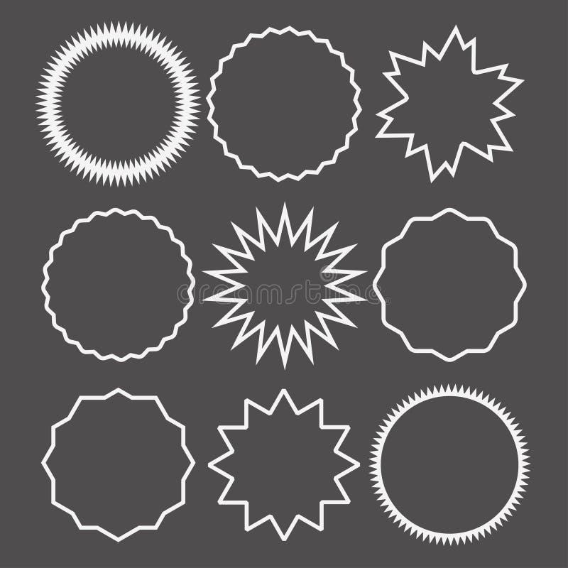 Метки starburst продажи Promo или набор значка цепи ярлыка стикера Значок бирки цены качественный для пустого шаблона бесплатная иллюстрация