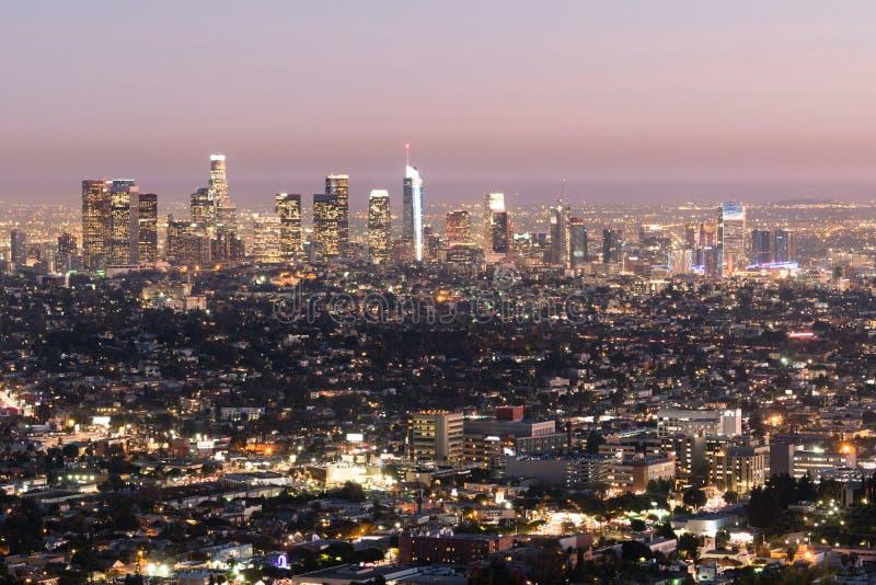 Метрополия красивого светлого горизонта города Лос-Анджелеса Калифорния городского городская стоковая фотография rf